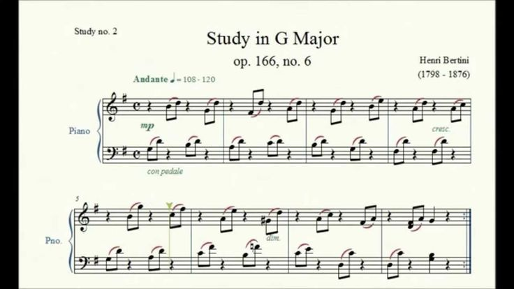 Study no. 2: Study in G Major (op. 166, no. 6) - Henri Bertini - Piano Studies/Etudes 2