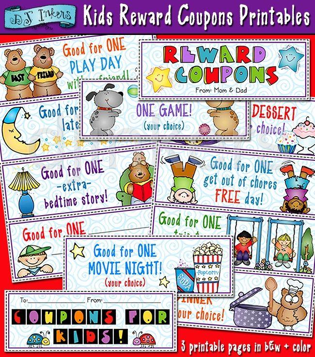 Kids Reward Coupons Printables, Kids Rewards, Kids Coupons