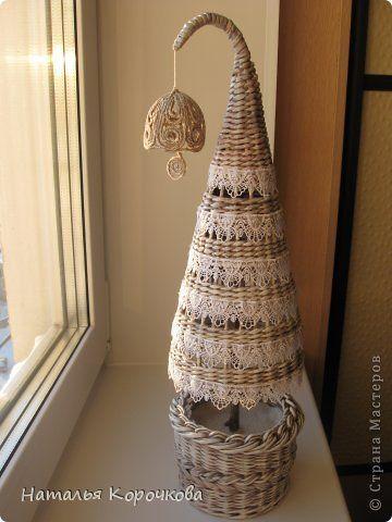 Поделка изделие Новый год Плетение Кое-что успела к Новому году Кружево Трубочки бумажные фото 2