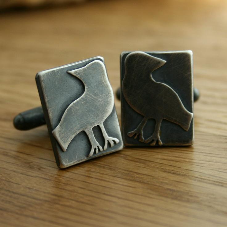Odin's Ravens Silver Cufflinks, Mythology, Norse Gods, Gift For Him, Wedding Present, Groom, Best Man, Geekery, Novelty. £60.00, via Etsy.