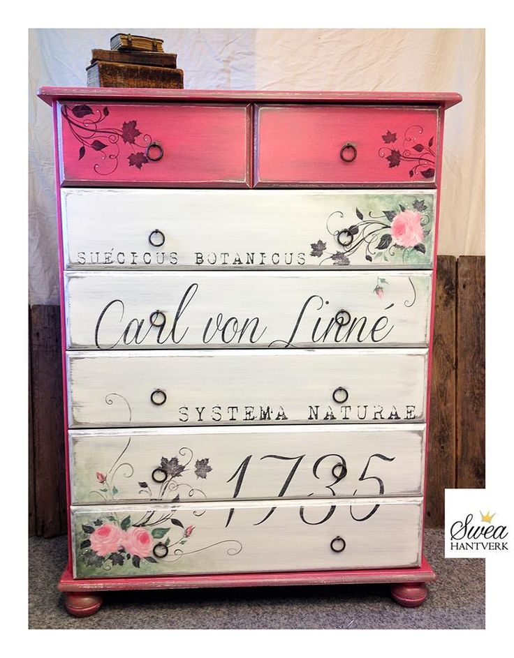 """Inspiration in chalk paint - American Paint Company. Love the color """"Mama's Lipstick""""."""