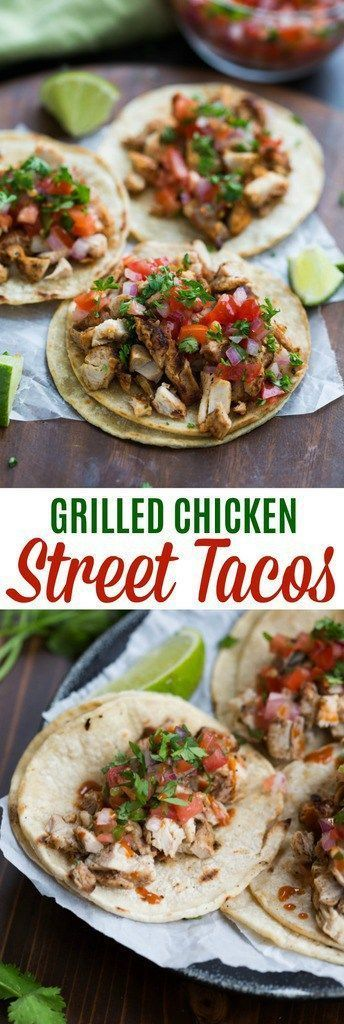 My family goes crazy for these grilled chicken street tacos, and I love how EASY they are to make! Marinated chicken thighs are grilled to perfection and served with warmed corn tortillas, pico de gal (Mexican Recipes)