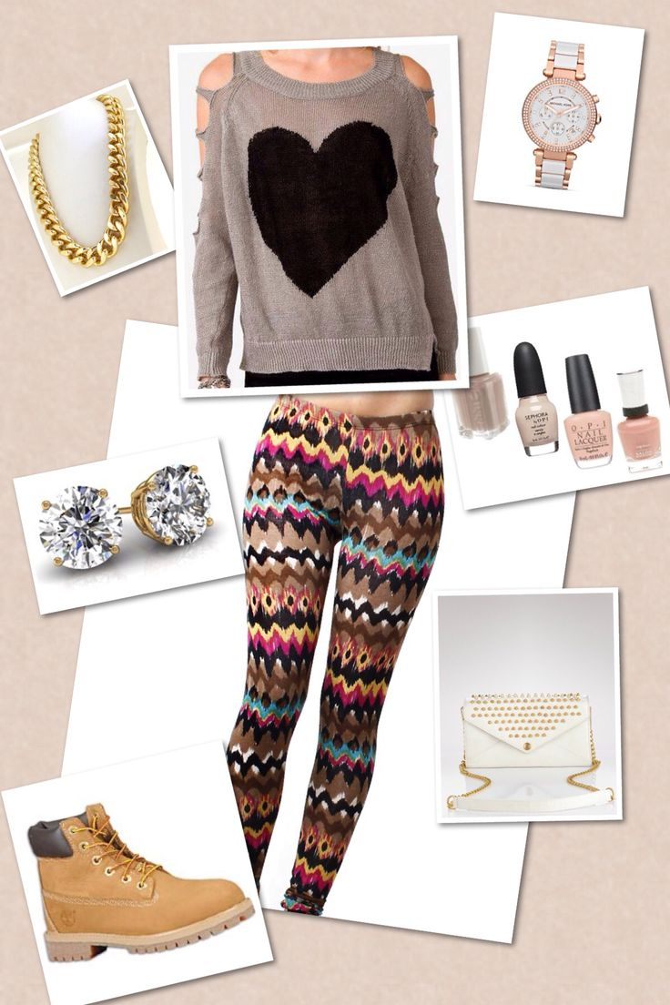Cute outfit. Timberlands leggings and super cute accessories | Cute Clothes | Pinterest ...