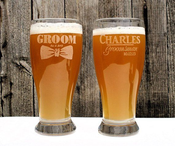 Personalised groom and groomsmen beer glasses - see more ideas at http://themerrybride.org/2014/09/06/ideas-for-personalising-your-wedding/