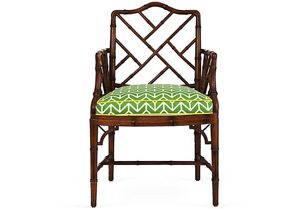 Nice contrast of color on stylistic chair- West Indies meets Palm Beach