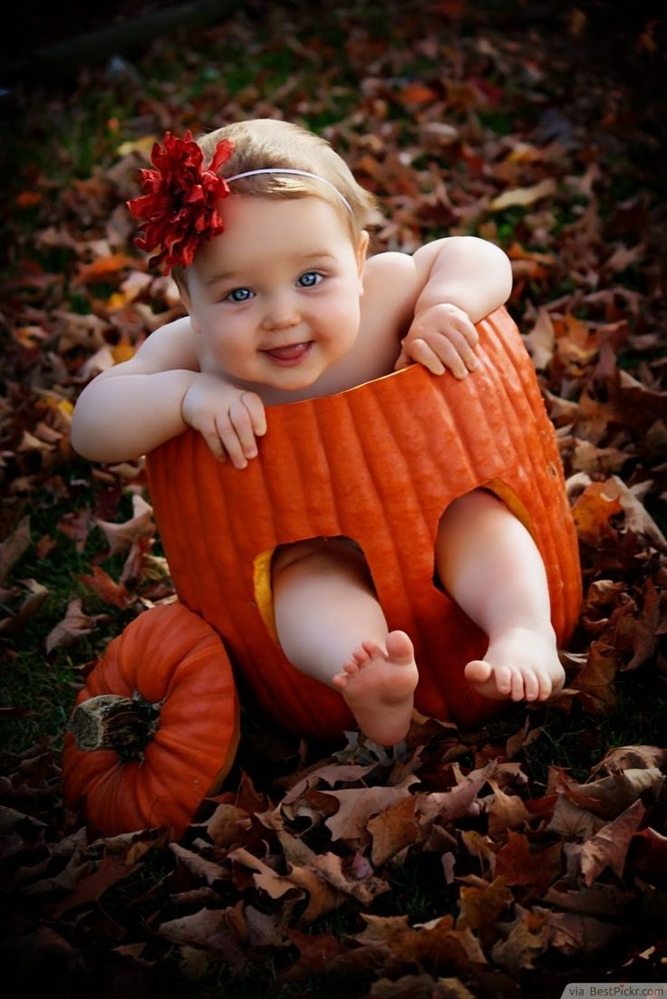Super Cute Baby Inside Pumpkin With Big Smile Photo Idea