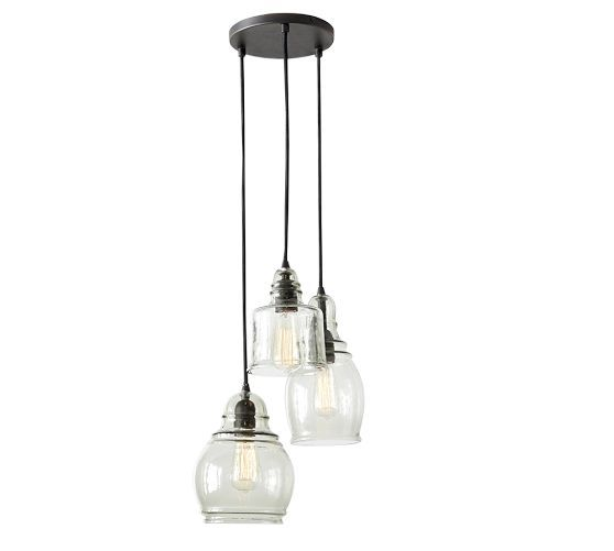 LIGHTING: Paxton Glass 3-Light Pendant from Pottery Barn $199; over three-way mirror, in combination with Paxton 8-light over counter