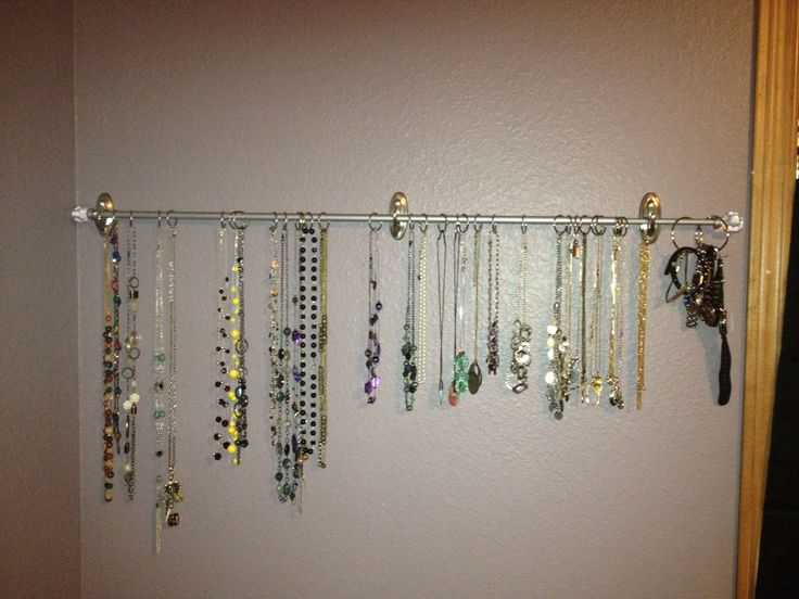 Curtain Rod Or Dowel Held Up With Command Hooks Use This To Store Necklaces And Bracelets