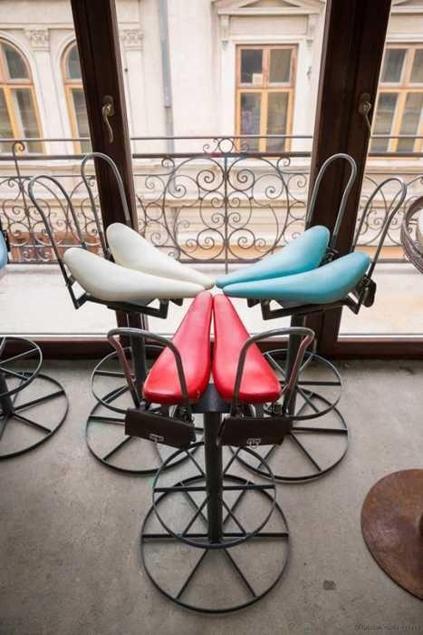 Delightful Interesting Bar Interior Design Recycling Old Bikes Into Unique Furniture