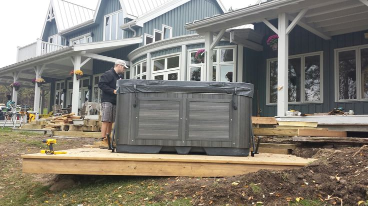 Dave finishing the install of a new Arctic Spas Cub