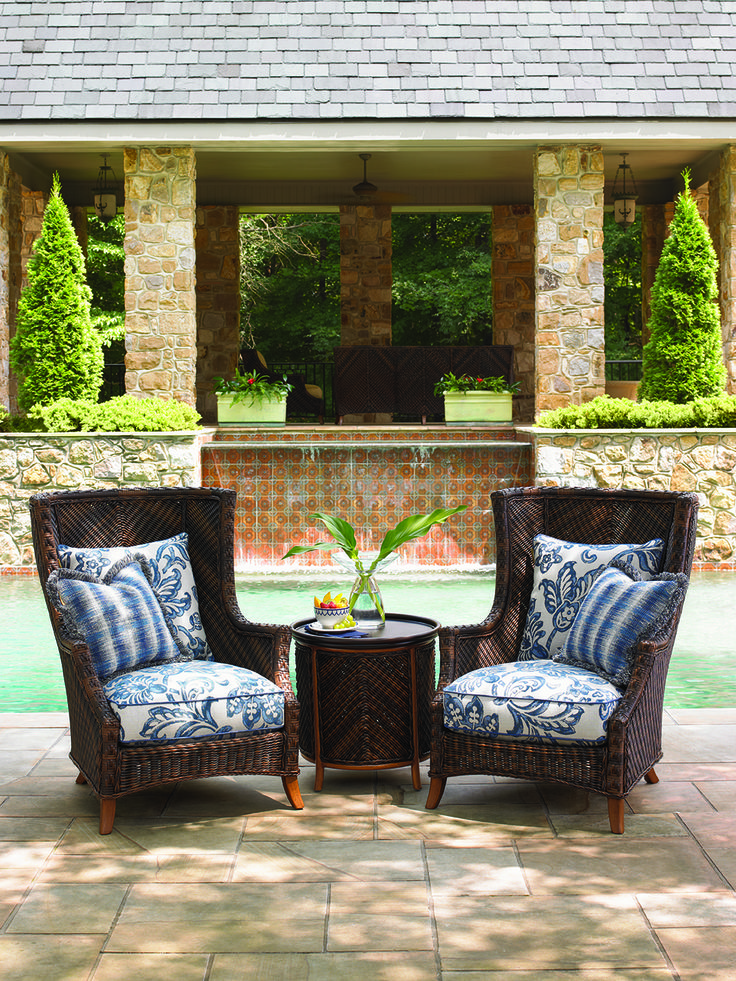 Tommy Bahama   Island Estate Lanai Collection. Outdoor Wicker Wing Chairs  And Tray End Table