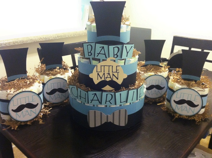 Little Man Mustache diaper cake and centerpieces
