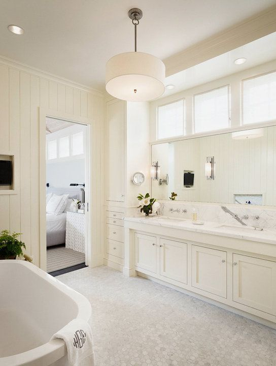 Master floor tile/ Carrara Marble Bathroom | Off White Bathroom Cabinets - Transitional - bathroom - Dillon Kyle ...