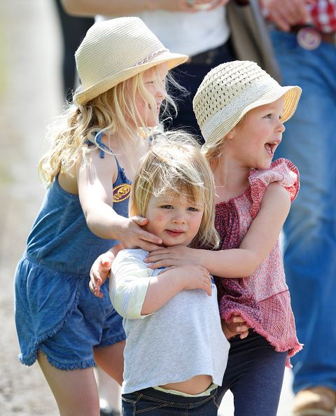 (L-R) Savannah Phillips, Mia Tindall and Isla Phillips attend the Badminton Horse Trials on May 8, 2016 in Badminton, England