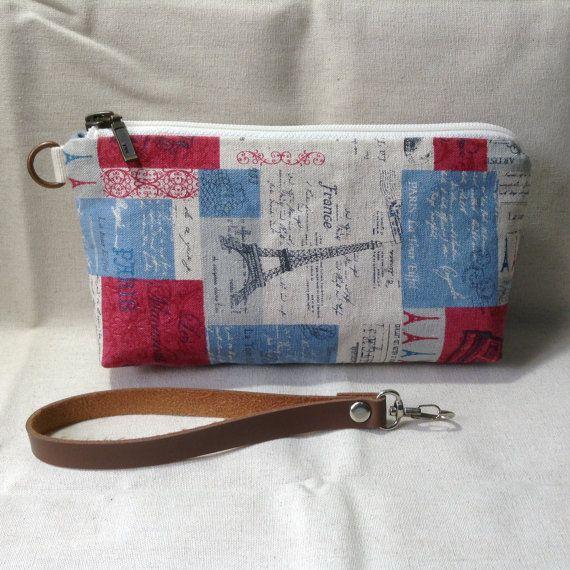 midi clutch zip pouch Eiffel cosmetic pouch by KatunKatunBags
