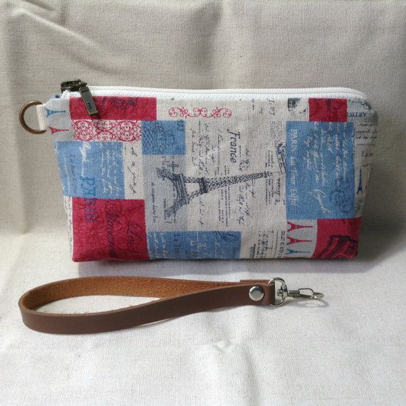 midi clutch zip pouch Eiffel cosmetic pouch by KatunKatunBags