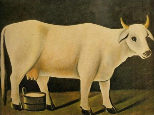 White cow on a black background - Niko Pirosmani, Wikipaintings