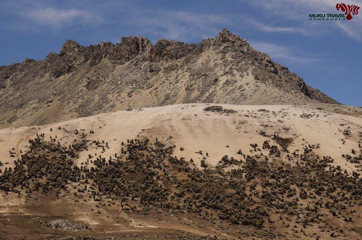 Pico Los Nevados sobre las dunas de arena del desierto periglaciar andino en el Parque Nacional La Culata #trekking #hiking #climbing #laculata #sierradelaculata