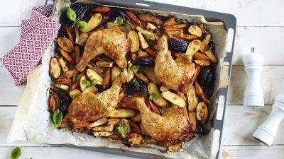 Ovnsstekte kyllinglår med rotgrønnsaker