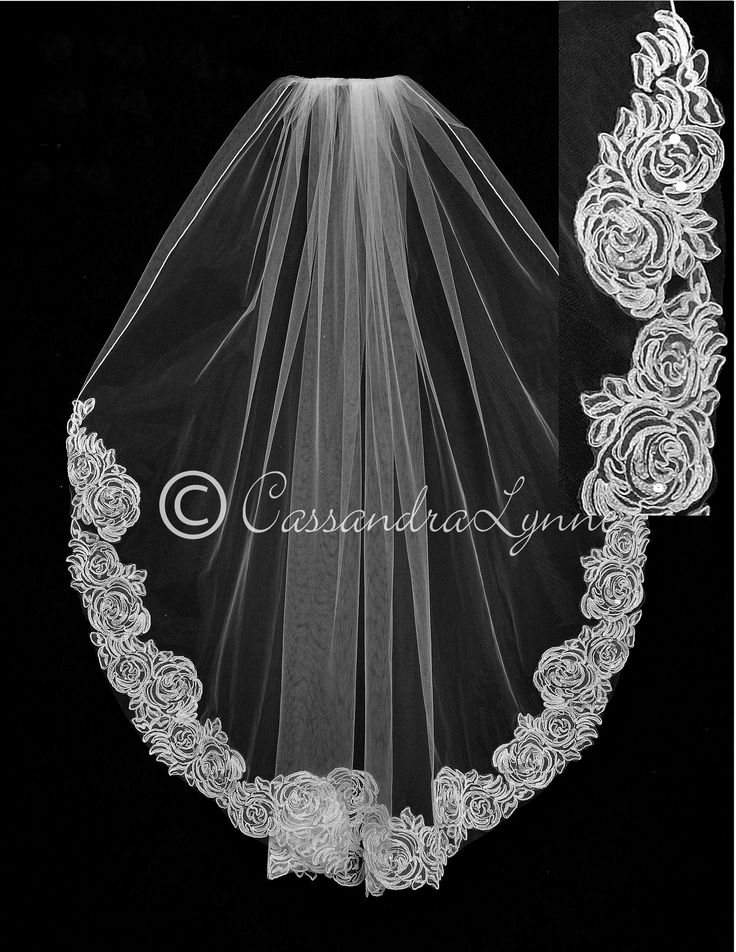 Bridal Veil with Beaded Rose Lace from Cassandra Lynne