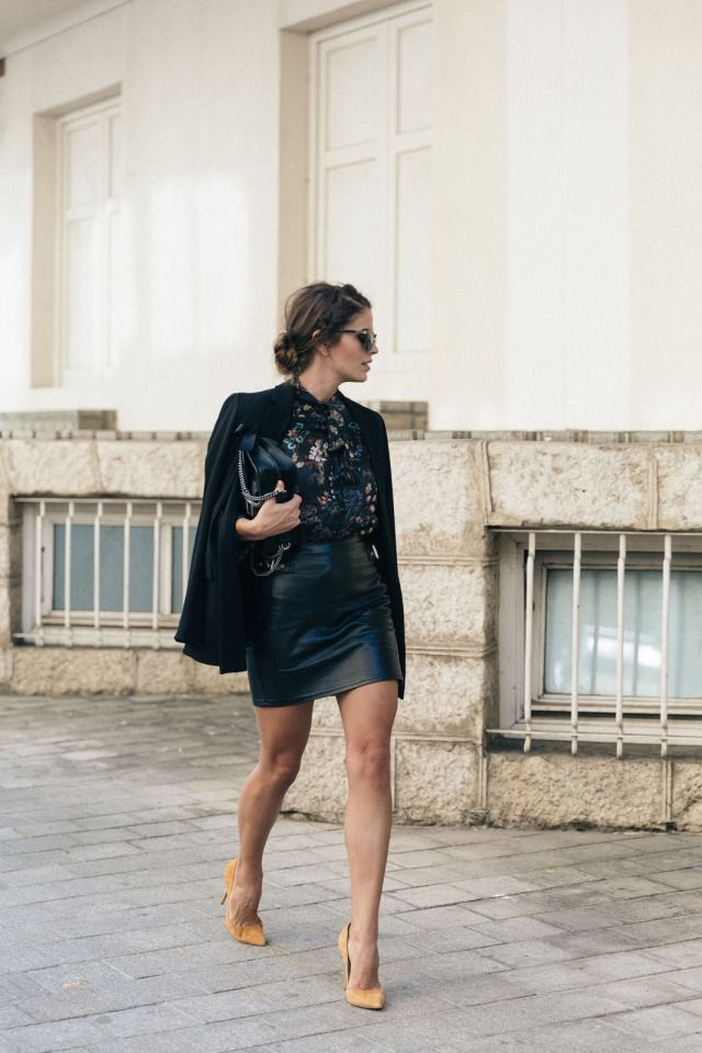 9a61e85c7 October Fashion, Black Leather Skirts, Faux Leather Skirt, Leather Dresses,  Flower Shirt