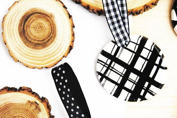 Set 6 Scandinavian Black and White Christmas tree ornaments