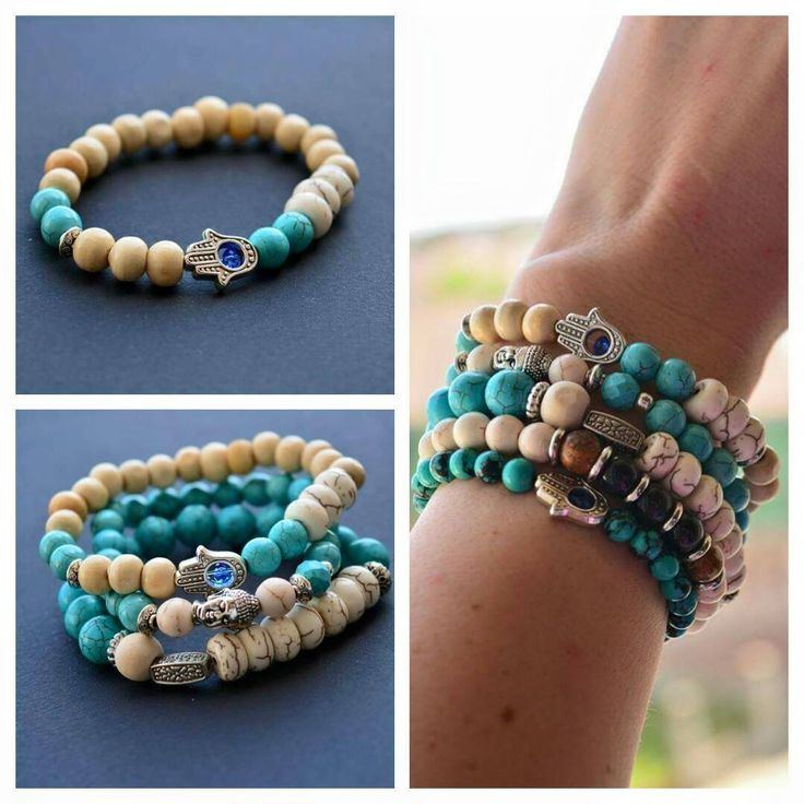 Turquoise and Magnezit bracetes. Spiritual. HamsaHand. Summer colors