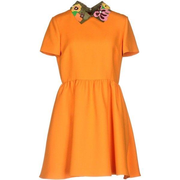 Valentino Short Dress (18,590 MXN) ❤ liked on Polyvore featuring dresses, orange, flare mini dress, ruffle mini dress, orange mini dress, flutter-sleeve dress and flared dress