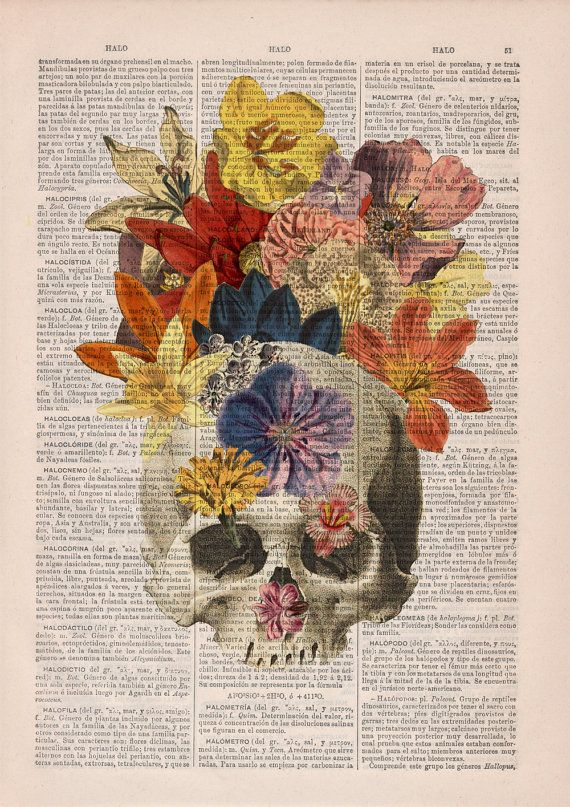 Dictionary Book Print Flowers and Skull collage Printed on Vintage Dictionary…