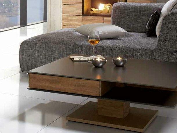 Height adjustable square wooden coffee table v montana - Charniere table basse relevable ...