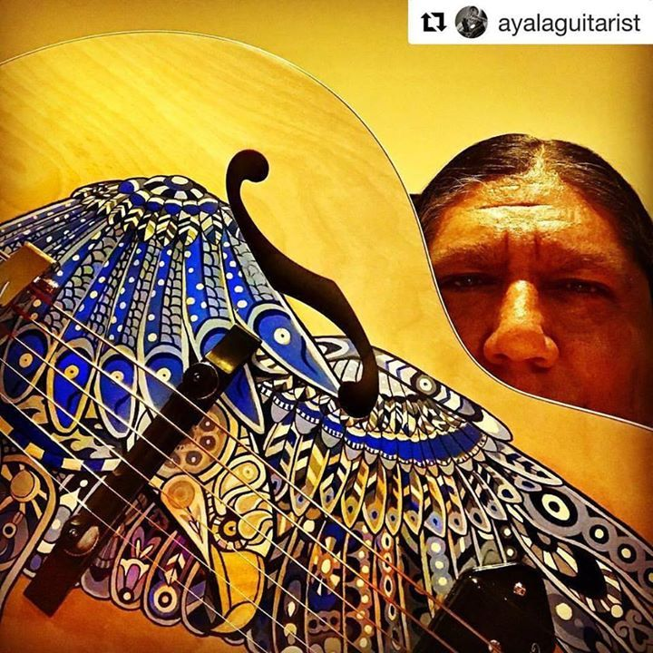 #Repost @ayalaguitarist (@get_repost)  Hangin w one of my baby gurls. We spending some quality time today. I use @optimastrings on her. Size 11 flat wound. They are truly amazing. This gurl is a @godin_guitars w a custom paint job by @keatonkohl  anyone wanna see a video later? #gabrielayala #ayalaguitarist #hoka #optimastrings #optima #godin