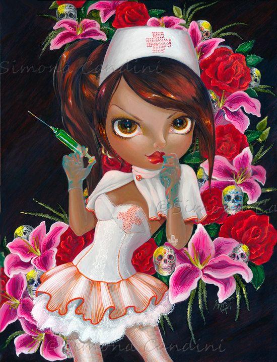 Le Candy Striper signée Simona impression Candini fée fantaisie grands yeux Art violon Pop surréaliste