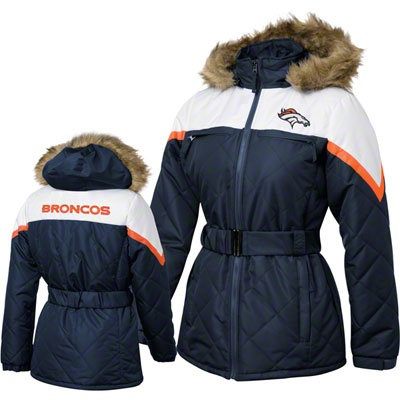 Denver Broncos Women's Navy The Looker Quilted Detachable Hooded Jacket