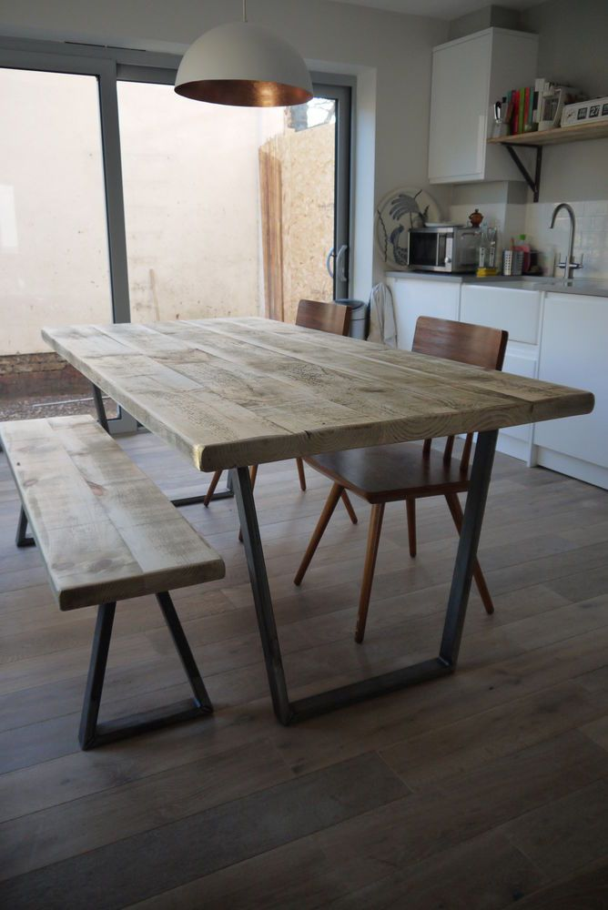 John Lewis Calia Style Vintage Industrial Rustic Reclaimed Top Dining Table