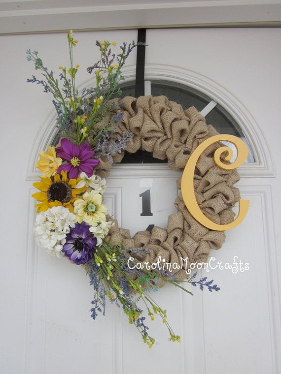Shabby Chic Burlap Bubble with Monogram by CarolinaMoonCrafts, $57.00
