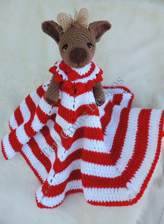 Reindeer Huggy Blanket Crochet Pattern Baby Blanket, Softie, Lovey Pattern by Teri Crews