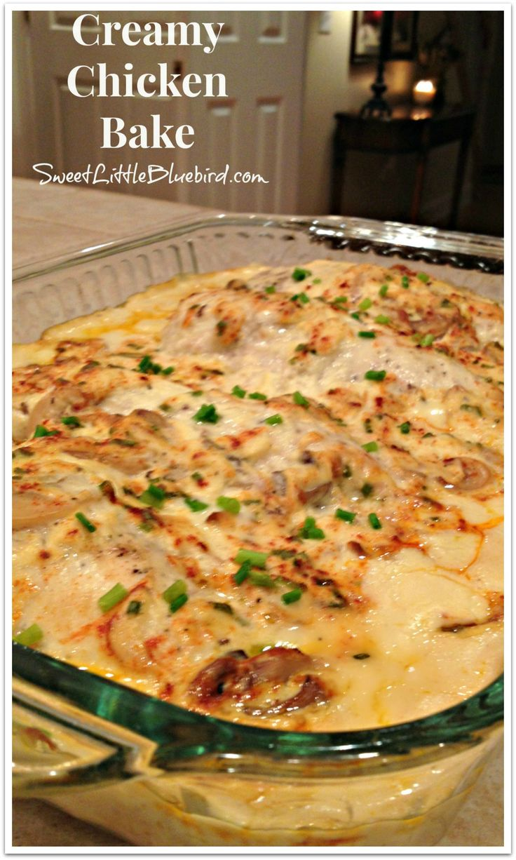 CREAMY CHICKEN BAKE!! One of my favorite chicken dishes!! It's not my favorite just because it's so simple to make...it's so darn good too!! My whole family loves this dish!! |  SweetLittleBluebird.com