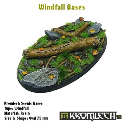 This set contains 1 oval 75 x 46 mm scenic base. Windfall theme.