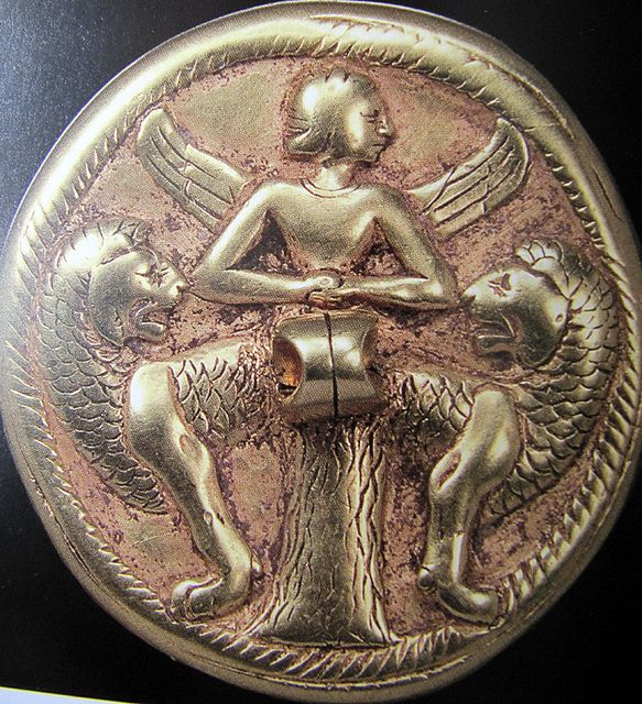 Gold seal - Ishtar as Mistress of Animals, Turkmenistan, ca 2000 BC, Schaffhausen Museum  BACTRIAN OR PERSIAN?