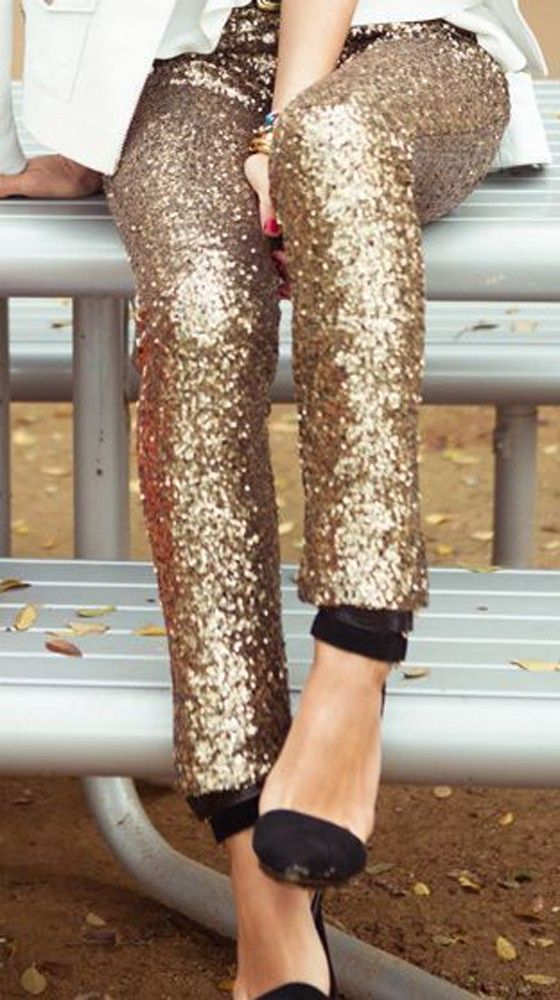 Golden Plain Sequin Elastic Waist Long Leggings - Leggings - Bottoms: