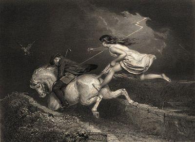 Tam O'Shanter Engraving (1855) #poetry #scottish #witch