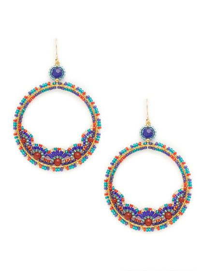 Carnelian & Blue Open Circle Earrings by Miguel Ases @ gilt $129 love the carnival colors!