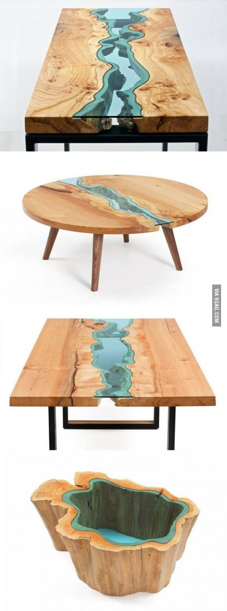 Wood Tables Embedded With Glass Rivers                                                                                                                                                      More