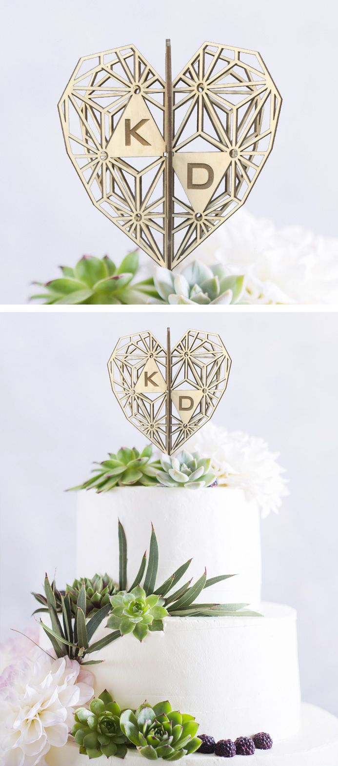 Our customizable Stella Heart cake topper looks great at every angle. It can be personalized, and is available in light wood (shown), dark wood, mirror silver, gold, or or pretty much any color you choose. Order yours on Etsy and we'll customize it for you! http://etsy.me/2nu0kZC