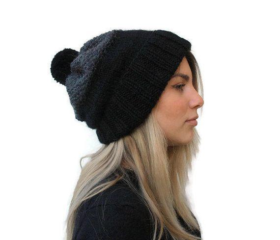 knit beanie hat  black  dark grey knit hat  women by PepperKnit