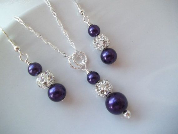 Purple Bridesmaid Jewelry,Purple Pearl Necklace & Earrings Set,Dark Purple Pearls,Bridesmaid Earrings And Necklace Set,Bridal Party Gifts