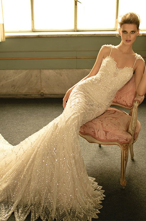 Berta pearl embellished wedding dress with lace appliqués and open back! Beautiful