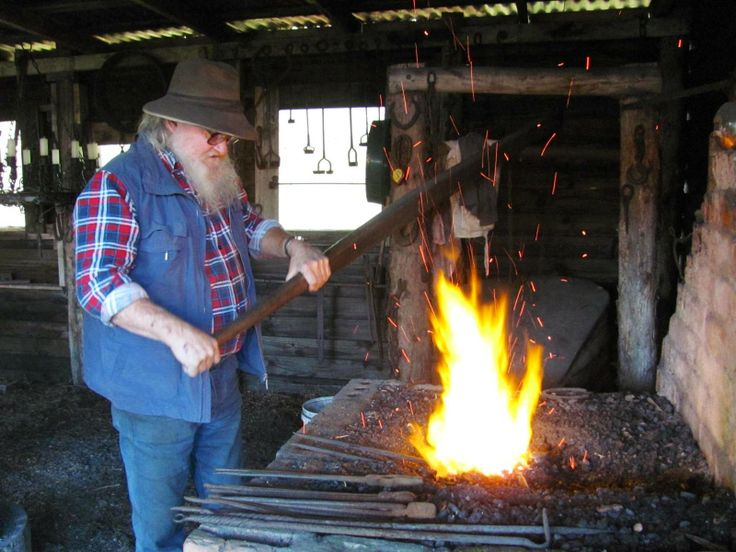 Local character Bill the Blacksmith at work at Springfield, near Scottsdale, North East Tasmania