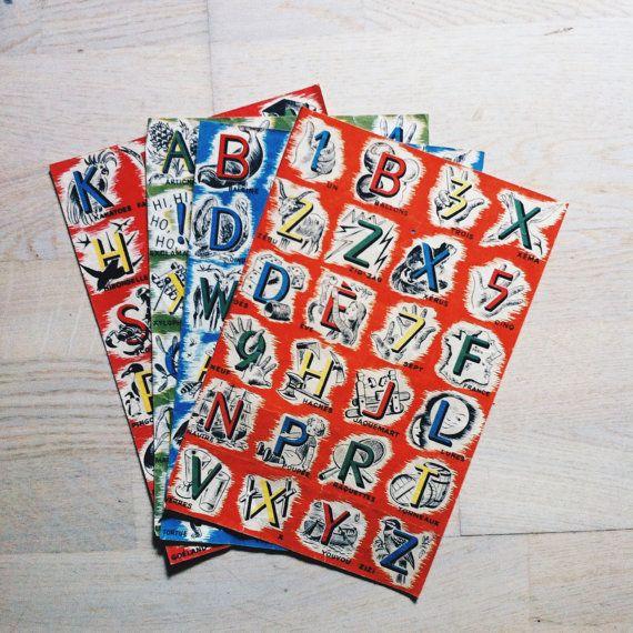 Vintage mid century alphabet chart alphabet by Papeteriedeparis