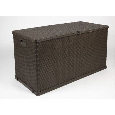 Coffre de rangement 420 L marron imitation osier, dim. 120x57xh.63 cm, polypropylène.